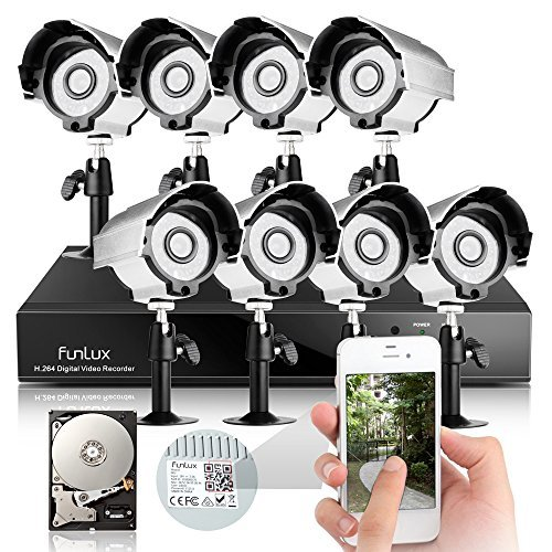 Best Deals! Funlux® 8 CH Full 960H Security DVR System with 8 High Resolution IR-Cut Day Night Home...
