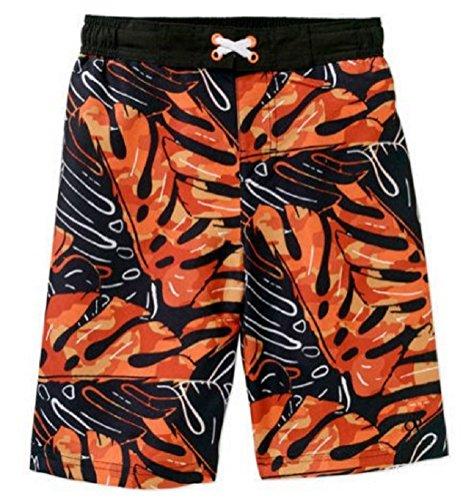 boys-op-banana-leaf-black-orange-swim-trunks-shorts-size-10-12