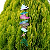 Unusual Glass Multi Coloured Fish Garden Wind Chime