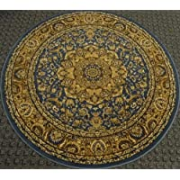 Traditional Round Area Rug Design Persian # 401 Blue 5 Feet 3 Inch x 5 Feet 3 Inch