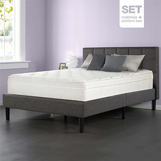 Sleep Master iCoil 13 Inch Deluxe Euro Box Top Spring Mattress and Upholstered Square Stitched Platform Bed Set, King