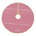 48 Red and White Cotton Christmas Tree Skirt (Chevron)