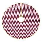 48 Inch Red and White Chevron Christmas Tree Skirt