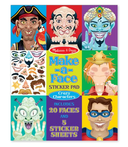 Melissa & Doug Make-A-Face Crazy Characters Sticker Pad front-379362