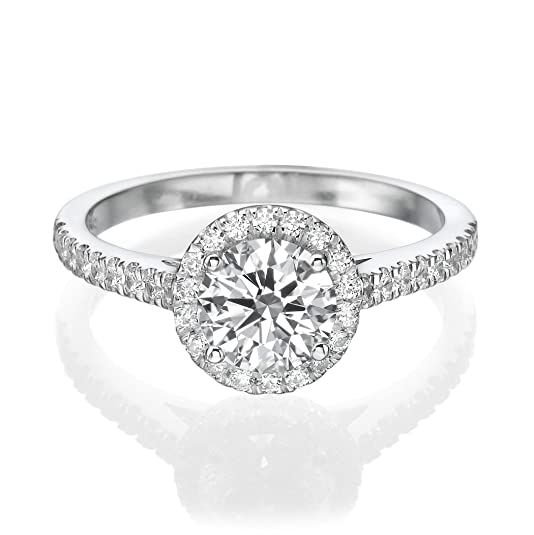 1.05 CT Diamond Engagement Ring Genuine Round Cut Main Stone H-I/I1-I2 14ct White Gold Solitaire with Accents