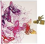 Pagna Tagebuch Pink Butterfly mit Schloss 128 Seiten