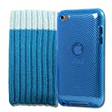 4G Touch Blue Gel Silicone Protective Armour Case + Blue Sock Cover & Screen Protector Kit for New Apple iPod Touch 4th Generation - 8GB 32GB 64GB