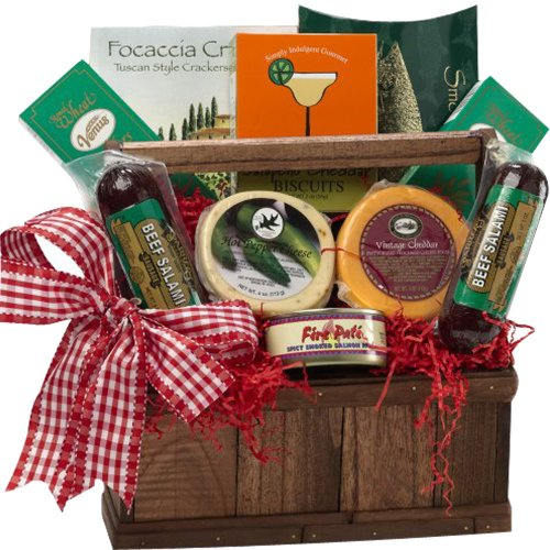 Art of Appreciation Gift Baskets Meat and Cheese Lovers Tote with Smoked Salmon image