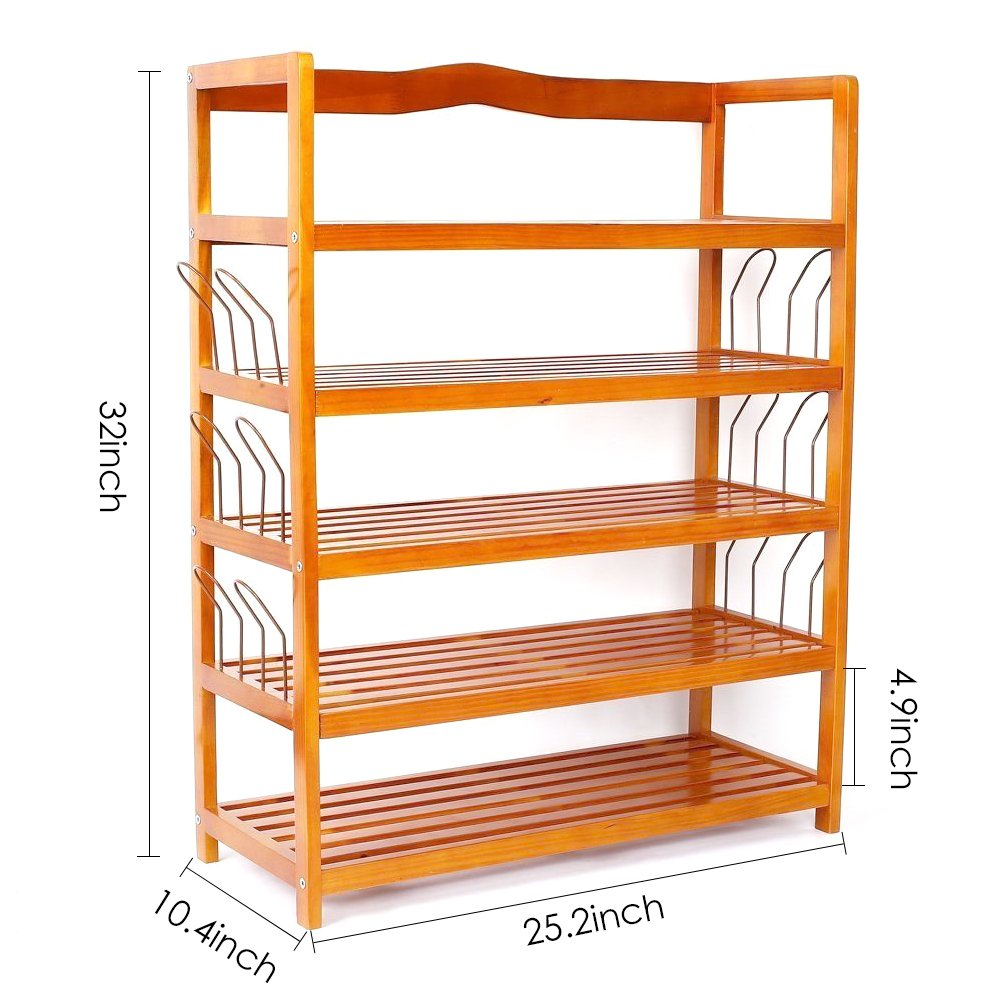 Childrens Kids 3 Tier Toy Bedroom Storage Shelf Unit 8: HOMFA 5-Tier Wooden Shoe Shelf Storage Organizer Entryway