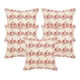 Khrysanthemum Oxford Cotton Valentine Love Cushion Cover (Set Of 5) - 16 x 16 inches, Orange