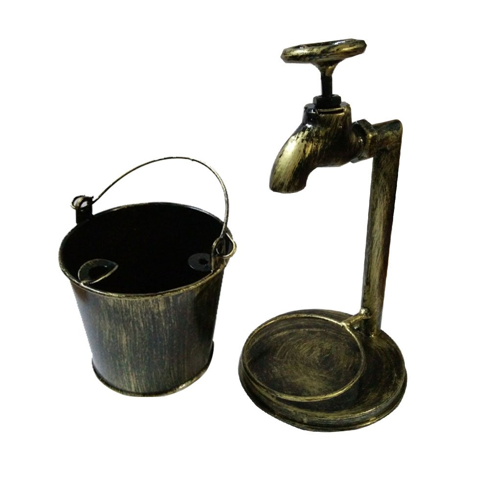 Retro Decoration Accents Cigarettes Cigars Bionic Design Faucet Bucket Ashtray Suit For Home Bar Office Or Use For Brush Pot Storage Containers ,Metal,Cinnamon 2