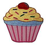 Cute Pink Cupcake Cake Bakery Retro Vintage Design DIY Embroidered Sew Iron on Patch