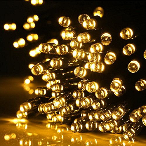 Solar String Lights, Arespark 72ft 200 LED 8 Modes Solar Waterproof Christmas Lights, Starry Fairy Outdoor String Lights for Patio Gardens- Warm White