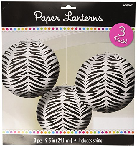 Zebra Print Round Hanging Paper Lanterns for an 80s Party