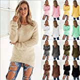 Pull Femme Sexy Casual couleur unie à manches longues Fluffy Jumper Pull Blouse