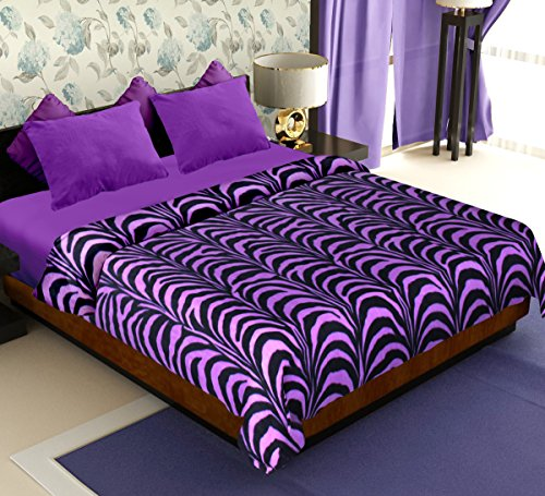Story@Home Coral Soft Printed Polyester Double Blanket Purple