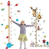 2PCS Height Growth Chart Sticker Removable Hanging Rulers Animals Spaceship Rocket Wall Decal Decoration for Kids (Color: Style 2)