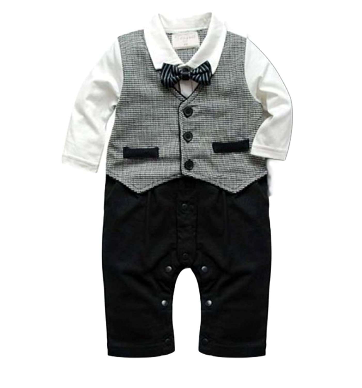 Baby Boy Long Sleeve Bowtie Gray Vest Tuxedo Romper Onesie Outfit
