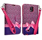 Samsung Galaxy Note 4 Case, Black Belt Clip Holster Armor Protective Case, Defender Cover (Black, Includes HD CLear Screen Protector and Touch Sensitive Stylus Pen) (HOT PINK CHEETAH)