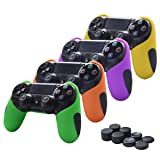 Skin Compatible for PS4 Controller Pandaren Soft Silicone Thicker Half Skin Cover Grip for PS4 /SLIM /PRO Controller (Skin X 4 + Thumb Grip X 8)(Green,Orange,Purple,Yellow) (Color: Green,Orange,Purple,Yellow, Tamaño: PS4)
