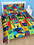 CHILDRENS BOYS FIREMAN SAM DUTY DOUBLE BED DUVET SET QUILT COVER SET YELLOW RED BLUE BRICKS PRINT