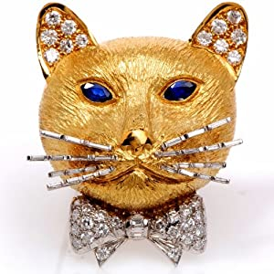 Vintage English Diamond Sapphire 18k Gold Cat Pin