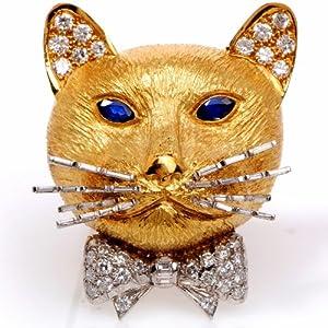 Vintage English Diamond Sapphire 18k Gold Cat Pin