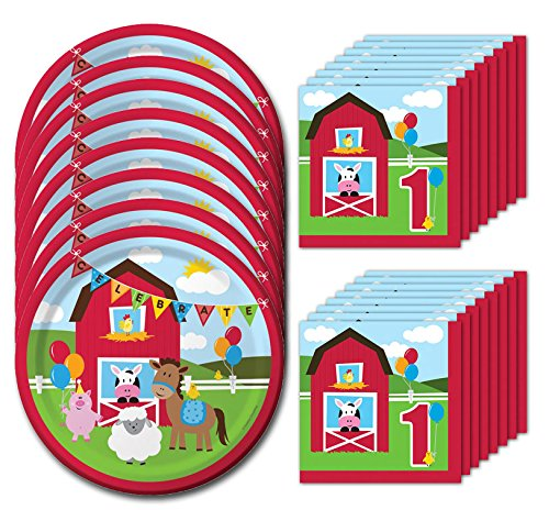 Farmhouse Fun First Birthday Lunch Napkins & Plates Party Kit for 8