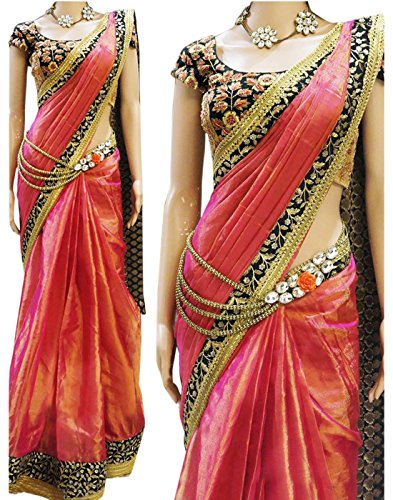 Alethia Enterprise Pink Color Paper Silk Embroidered Party Wear Saree With Heavy Work Blouse Piece-ALI135SENX-28