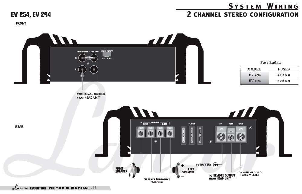 amazon.com : lanzar ev294 evolution series 3200 watt 2 ... 5 channel car amp wiring diagram