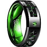 Nuncad Men's 8MM Green Carbon Fiber Black Tungsten Wedding Ring Comfort Fit Beveled Edge Size 11 (Color: Black)