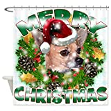 CafePress - MerryChristmas Chihuahua Shower Curtain - Decorative Fabric Shower Curtain