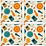 Snoogg Music Systems Pack Of 4 Digitally Printed Cushion Cover Pillows 14 X 14 Inch