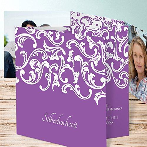 einladungskarten silberhochzeit selber basteln zartes band 5 karten doppelklappkarte 145x145. Black Bedroom Furniture Sets. Home Design Ideas