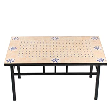 Mosaiktisch Couchtisch 60x100cm Gartentisch Beistelltisch Terrassentisch Fliesentisch Mediterraner Tisch (Azar: natur/blau)
