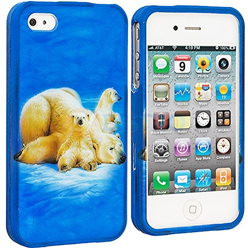 Mylife (Tm) Polar Bears In Snow Series (2 Piece Snap On) Hardshell Plates Case For The Iphone 4/4S (4G) 4Th Generation Touch Phone (Clip Fitted Front And Back Solid Cover Case + Rubberized Tough Armor Skin + Lifetime Warranty + Sealed Inside Mylife Author