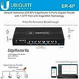Ubiquiti EdgeRouter 6P, 6-Port Gigabit Router with 1 SFP Port (ER-6P-US) (Color: Black, Tamaño: standard)