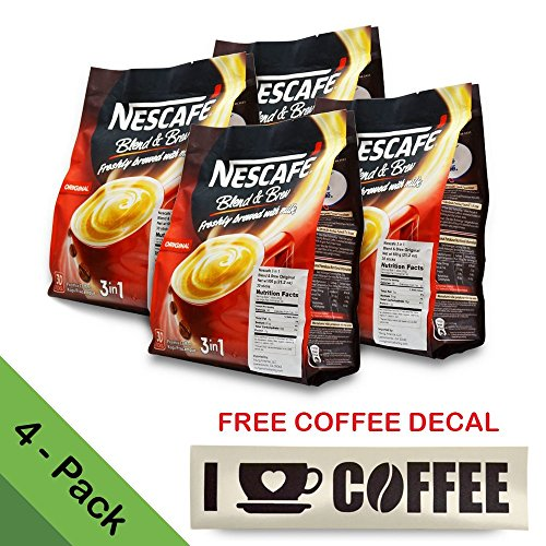 4-PACK Nescafé 3-in-1 ORIGINAL Blend and Brew (with FREE COFFEE DECAL STICKER) Premix Instant Coffee ★ Taste Creamier & More Aromatic ★ Don't Need Creamer & Sugar ★ 20g/Stick - 120 Sticks TOTAL (Kuerig Breakfast Carafe compare prices)