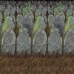 Beistle 00900 Graveyard Backdrop, 4\' x 30\'