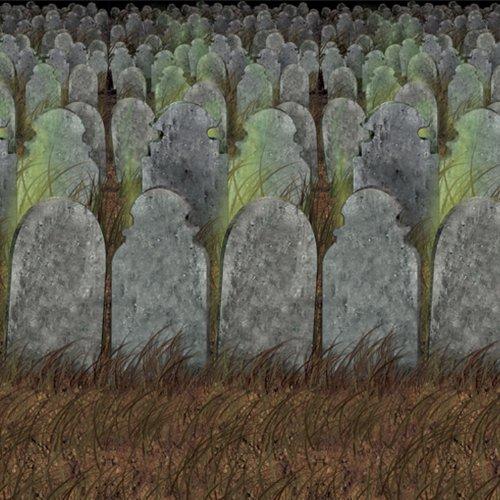 Beistle Graveyard Backdrop, 4-Feet by 30-Feet