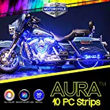 10pc Aura 3-into-1 Motorcycle LED Light Kit | Multi-Color Accent Glow Neon Strips w/Switch for Cruisers