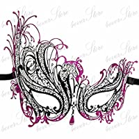 Mysterious Black Laser Cut Venetian Intricate Swirls Design Masquerade Mask for Mardi Gras Or Halloween - Decorated with Purple Glitter and Gem Crystals