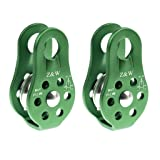 2 Pieces 20KN Fixed Side Climbing Pulleys Ball Bearing Micro Pulley Rappelling Rescue Safety Equipment (Color: Green)