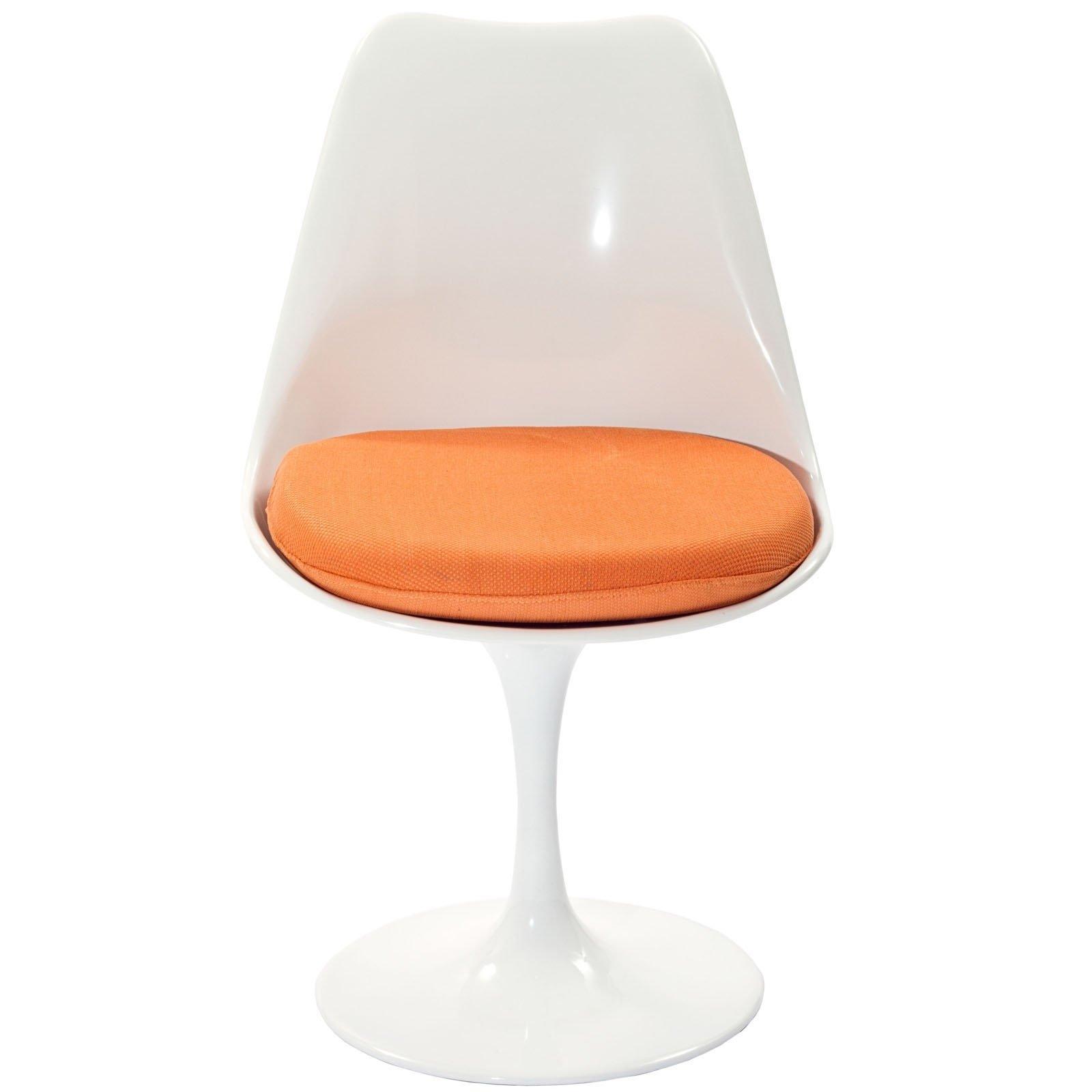 LexMod Eero Saarinen Style Tulip Side Chair with Orange Cushion