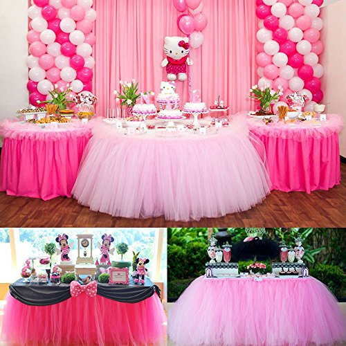 CYNDIE Hot Sale New Customized 100cm Tutu Tableware Tulle Table Skirt Party Wedding Decorations Best Price Gift Hot Pink 100cm