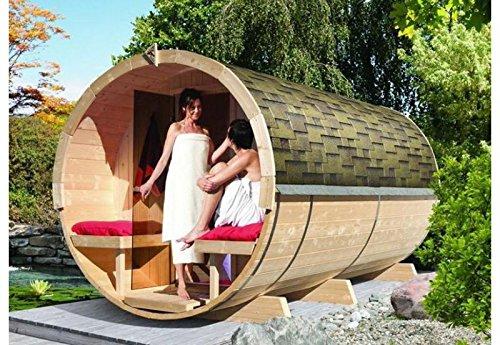 Karibu Fass - Sauna 4 42 mm inkl. 9-kW-Ofen -...