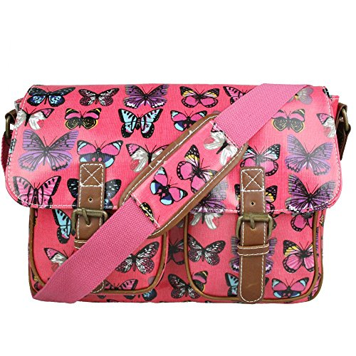 Floral Polka Dots Ladies Oilcloth Satchel Messenger