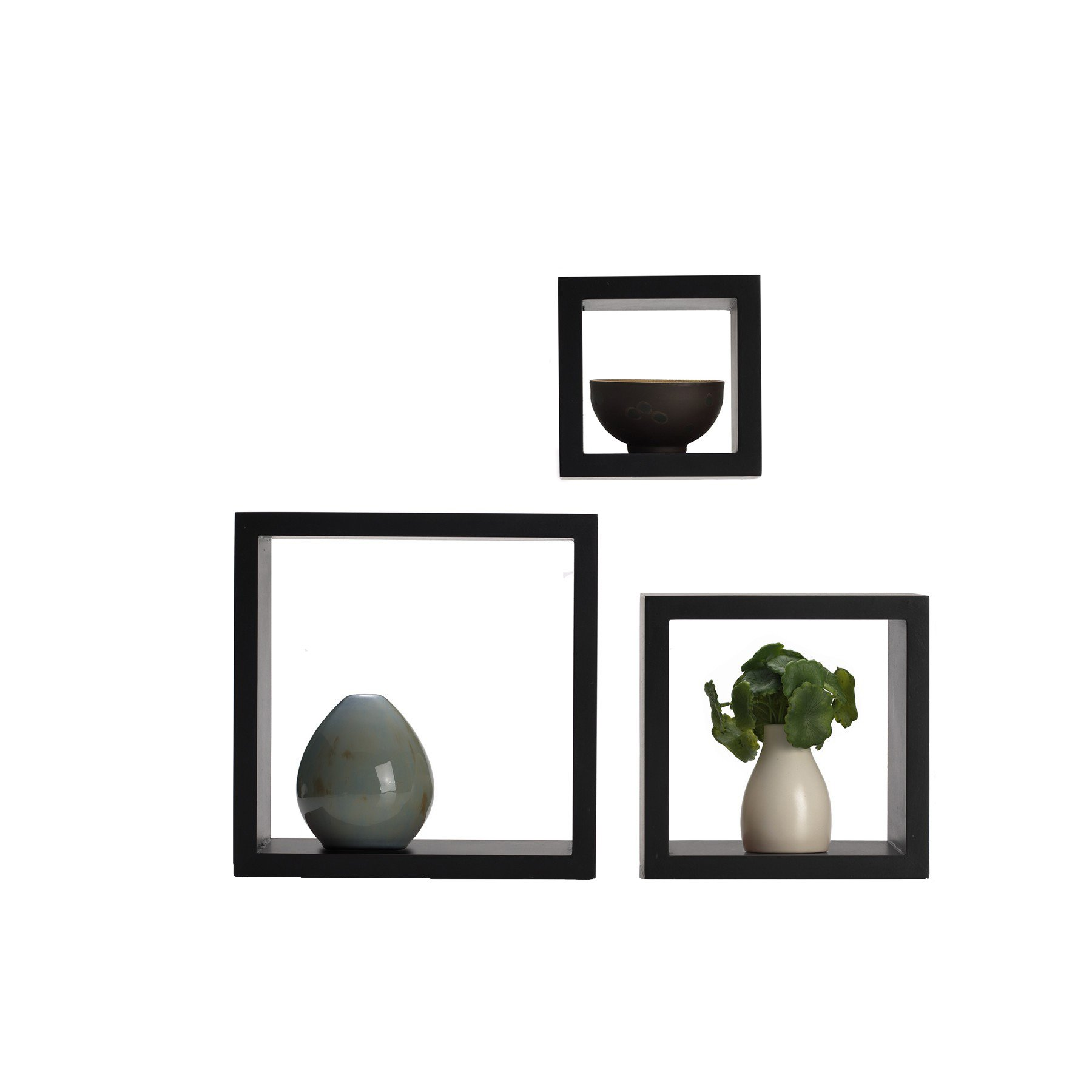 Decorative Wall Shelves Espresso : Floating square shelves cube wall mounted decorative