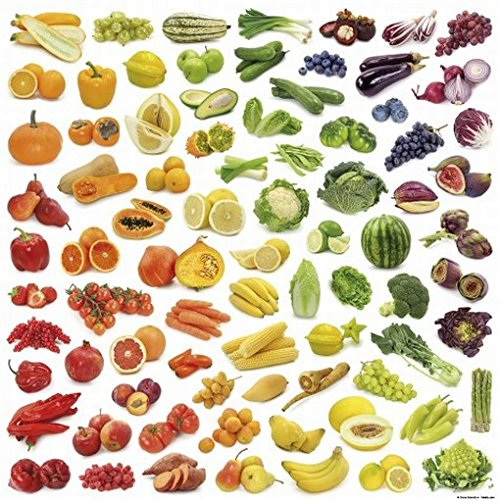 Posters: Cuisine Poster Art Print - Rainbow Collection Of Fruit And Vegetables (16 X 16 Inches) front-1007772