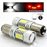 1157 2057 7528 BAY15D LED Car Brake Ligth Bulb with 3030 SMD 120W 1900 Lumens High/Low Beam Super Brighter Pack of 2 White (Color: White)